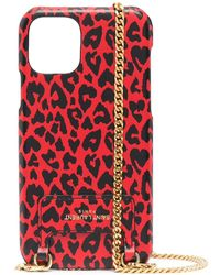 Saint Laurent Cover per iPhone 11 Pro con stampa - Rosso