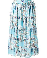 Blugirl Blumarine - Beach Print High-waisted Skirt - Lyst