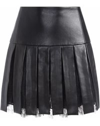 Alice + Olivia アニマルフリーレザー スカート - ブラック