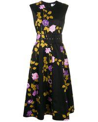 MSGM Расклешенное Платье С Принтом - Черный