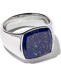 Tom Wood Anillo con lapislázuli azul de corte cojín - Metálico