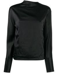 Helmut Lang Long-sleeved Satin Blouse - Black