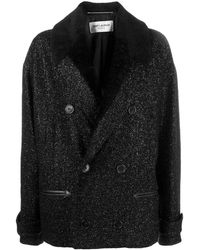 Saint Laurent Короткое Двубортное Пальто Из Букле - Черный