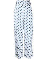 Sara Battaglia Polka Dot High Waisted Trousers - White