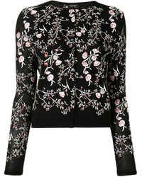 Giambattista Valli Floral-embroidered Cardigan - Black