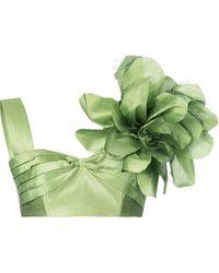 Bambah Cropped-Seidentop mit floralem Print - Grün