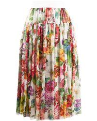 Dolce & Gabbana Plooirok Met Bloemenprint - Wit
