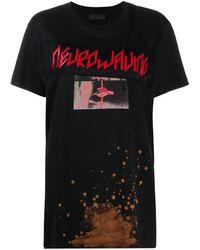 Diesel Black Gold T-shirt brodé à effet délavé - Noir