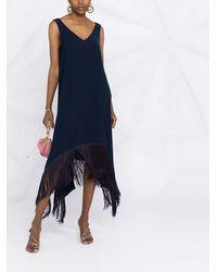 P.A.R.O.S.H. Платье С Асимметричным Подолом И Бахромой - Синий