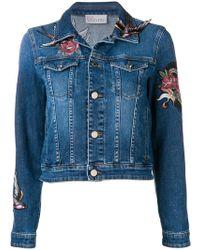 RED Valentino Floral Appliqué Denim Jacket - Blue