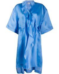Nina Ricci シルク ドレープ ドレス - ブルー