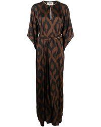 Bazar Deluxe Robe longue ceinturée à imprimé graphique - Marron