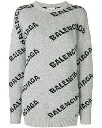 Balenciaga Jacquard Logo Ronde Hals Trui - Grijs