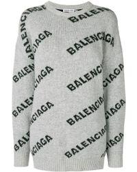 Balenciaga Jacquard-Pullover mit Logo - Grau