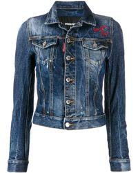 DSquared² Cropped Embroidered Denim Jacket - Blue