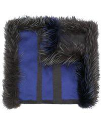 Guy Laroche Paneled Wide Scarf - Blue