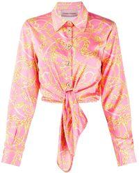 Chiara Ferragni Рубашка С Принтом И Завязками Спереди - Розовый