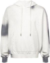 Off-White c/o Virgil Abloh Logo Printed Dyed Hoodie - Gray
