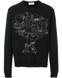 Jimi Roos Sweatshirt mit Pilzen - Schwarz