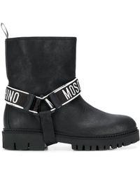 Moschino Logo Strap Boots - Black