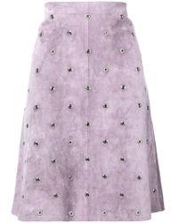 Bottega Veneta - Lilac Suede Skirt - Lyst