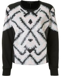 BCBGMAXAZRIA Geometric-pattern Sequinned Sweatshirt - Black