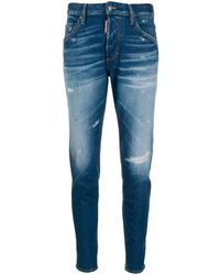 DSquared² Distressed Mid Rise Jeans - Blue