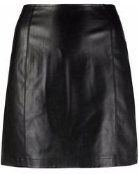 Calvin Klein アニマルフリーレザー ミニスカート - ブラック