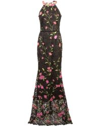 Marchesa notte - Lace Fitted Long Dress - Lyst