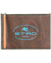 Etro Paisley Logo Print Clutch Bag - Brown