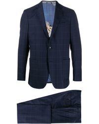 Etro チェック スーツ - ブルー