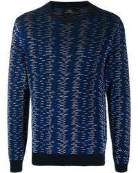 Armani Exchange Stripe-print Jumper - Blue