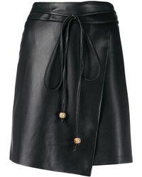Nanushka ベルテッド Aラインスカート - ブラック