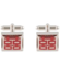 Shanghai Tang Double Happiness Square Cufflinks - Red