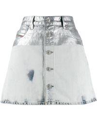 DIESEL Metallic Coated Denim Skirt - Gray