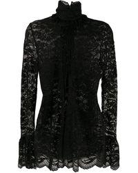Paco Rabanne High-neck Lace Blouse - Black