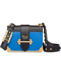 Prada Leather Cahier Bag - Blue