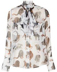 Burberry Блузка С Бантом И Принтом - Белый