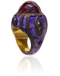 Sevan Biçakci 24k Gold, Black And Purple Ottoman Architecture-inspired Diamond And Amethyst Ring - Pink