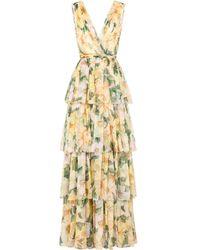 Dolce & Gabbana Camellia-print Empire Line Dress - Green