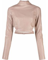 Manokhi Cropped Leather Long-sleeve Top - Multicolor