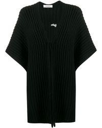 Valentino Vlogo Knitted Poncho - Black