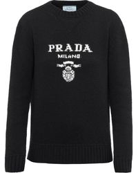 Prada インターシャ ロゴ セーター - ブラック