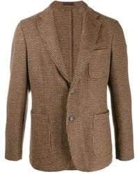 The Gigi Single-breasted Houndstooth Blazer - Brown