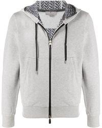 Canali Zipped Cotton Hoodie - Grey