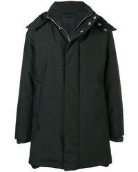 Prada Technical Canvas Hooded Coat - Zwart
