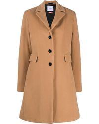 Paltò Single-breasted Tailored Coat - Brown