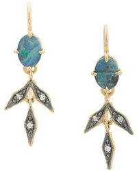 Cathy Waterman 22kt Gold And Blackened Opal Lyrical Wheat Earrings - Metallic