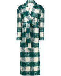 Erika Cavallini Semi Couture Belted Check Coat - Green
