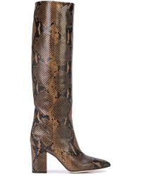 Paris Texas Embossed Snakeskin-print Boots - Black